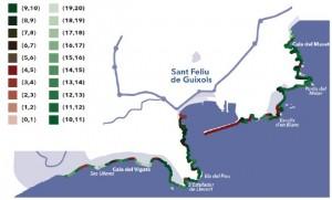 Plànol del projecte CARLIT a la zona de Sant Feliu de Guíxols FONT: Fundació Mar